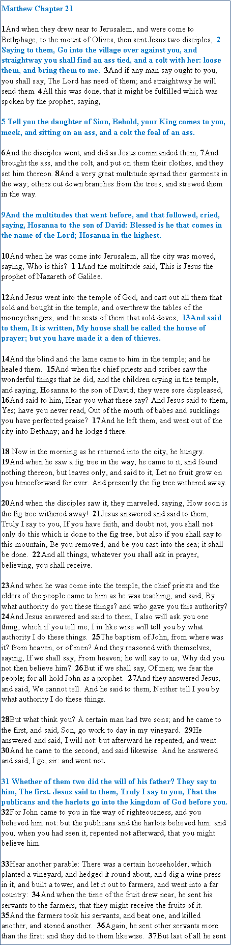 Text Box: Matthew Chapter 21 [NKJV]